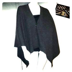 Charcoal grey wool blend blanket scarf